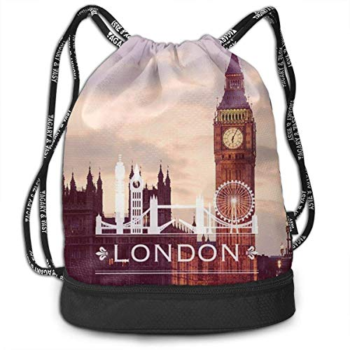 Bolsas de Cuerdas,Bolsas de Gimnasia,Mochilas Tipo Casual, Gym Drawstring Sports Bag Simple Quick Dry Bundle Backpack Big Ben London