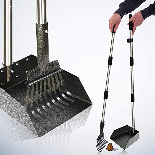 XXYL Hundekotschaufel Set Pet Poop Tray und Rake Set für große mittlere kleine – 95cm Lange verstellbare Griff Bin mit Rake Waste Removal Scoop