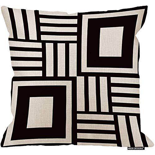 Marlon Kitty Cojín geométrico, Funda de cojín de patrón geométrico Negro Abstracto Abstracto Funda de cojín