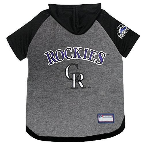 Pets First MLB Hoodie for Dogs & Cats - Colorado Rockies Dog Hooded T-Shirt, Small. - MLB Team Color Hoody (ROC-4044-SM)