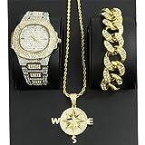 MTRESBRALTS Hip Hop - Reloj de Pulsera para Hombre con diseño de Diamante, Elegante y con Collar,...