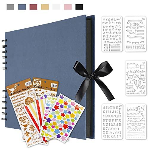 Qisiewell Fotoalbum Blau Fotoalbum zum Selbstgestalten DIY Fotobuch 80 Seiten Kann als Abschluss Geschenk Geburtstagsgeschenk Hochzeitstagsgeschenk Valentinstagsgeschenk und mehr verwendet Werden
