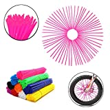 72Pcs Universal Spoke Skins Covers,Wheel Spoke Wraps Skins Pipe Trim Decoration Protector For Motorcycle Dirt Bike Yamaha Honda BMW Suzuki Kawasaki(Pink)