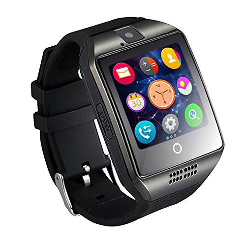 GZDL Q18 Bluetooth Smart Watch Touchscreen met Camera Ontgrendeld Horloge Telefoon met Sim Card Slot Smart Polshorloge Smartwatch Telefoon voor Android Samsung IOS iPhone 7 Plus 6S (Zwart)