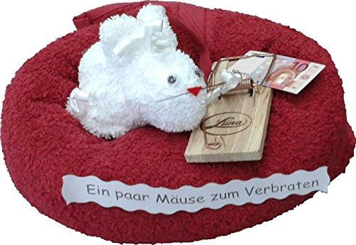 Frotteebox Geschenk-Set Maus aus Handtuch (100x50cm) und Waschhandschuh geformt mit Mausefalle aus Holz