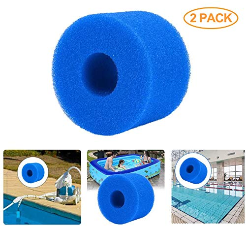 SUNJULY 2 Pack Swimming Pool Filter Foam Cartridge Sponge, Washable Filter Sponge Replacement Reusable Cleaner Tool for Intex S1 Type SPA - Blue 4.014.012.83in (2)