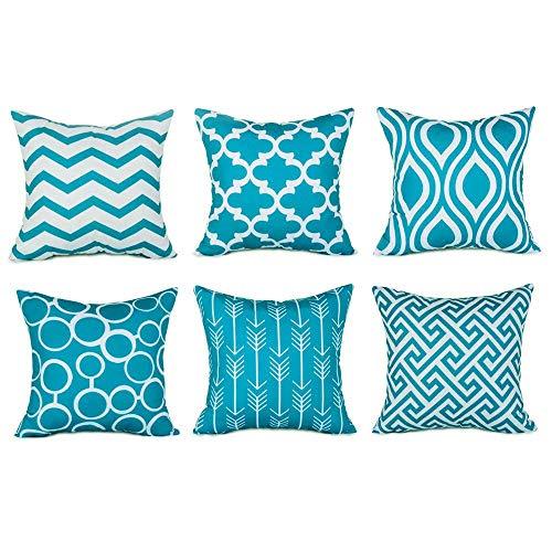 Fossrn 6PC Fundas Cojines 45x45 Modernos Funda de Cojín para Sofa Jardin Cama Coche Decorativo, Geométricas Patrones Serie (Azul)