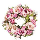 Prayer Artificial Peony Flower Wreath Door Wreath with Green Leaves Spring Wreath for Front Door,Wedding,Wall, Home Decor