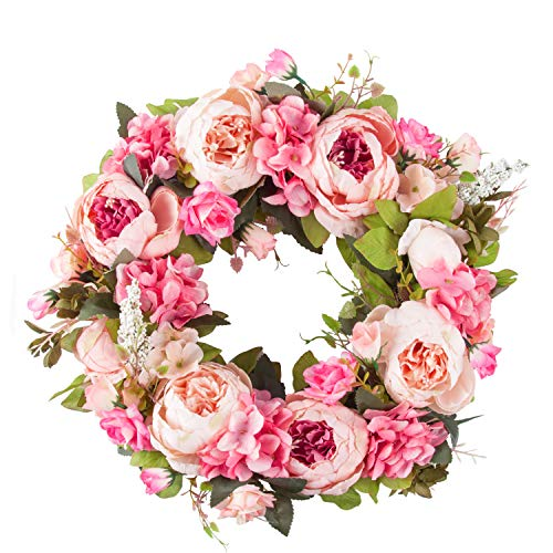 PRAYER Artificial Peony Flower Wreath Door Wreath with Green Leaves Spring Wreath for Front...