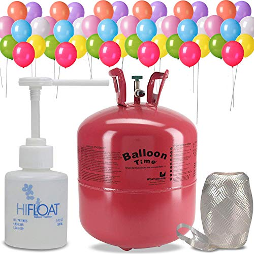 Helium Tank + 50 Multi Color balloons + Hi-Float Balloon Solutions, 5 oz + White Curling Ribbon |14.9 Cubic Feet Helium, Enough for 50 9' Balloons