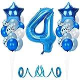 Globos de Cumpleaños 4 año, Decoración cumpleaños 4 Años, Feliz cumpleaños Decoración Globos 4 Años, Decoracion Fiestas, Adornos Cumpleaños, Birthday Decoration, Globos Numeros de Aluminio para niño