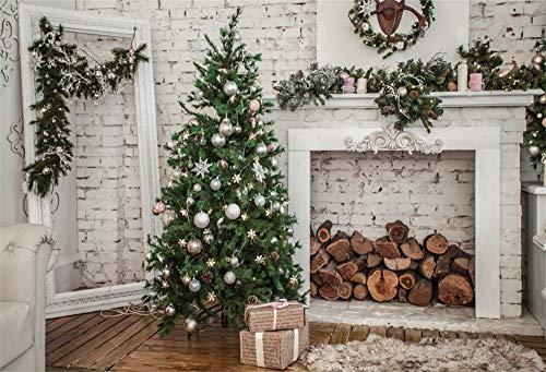 YongFoto 3x2m foto achtergrond Nieuwjaar Kerstmis open haard protocol spiegel kerstballen boomversiering houten vloer wit getinte baksteenmuur fotografie achtergrond foto baby kinderen fotostudio