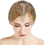 ArtiDeco Diadema para mujer de los años 20, con cadena para disfraz de Gatsby dorado Talla única