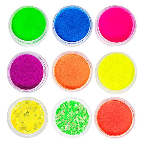 Neon Pigment Eyeshadow Powder with Eye Shadow Base, MSJiA 9 Mixed Bright Matter Colors UV Glow Blacklight Luminous Pigments Fluorescent Glitter Mica Dye Colorant Makeup Kit