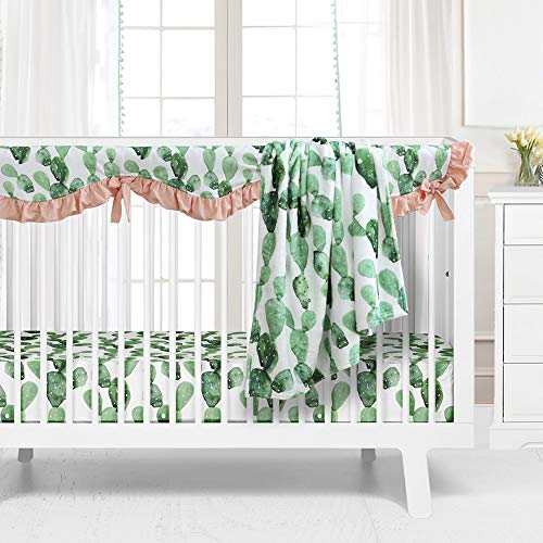 Sahaler Succulents Baby Crib Bedding Set for Boy Girl, Watercolor Cactus Nursery Fitted Sheets Crib Rail Covers Fleece Plush Blanket 3 Pieces Set (Green Cactus)
