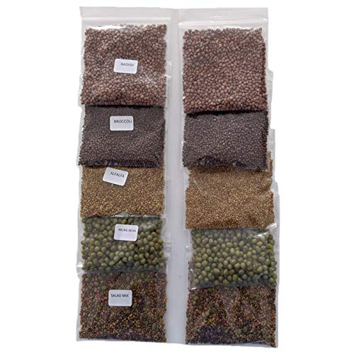 Variety Pack Sprouting Seeds for Sprouts and Microgreens. Non-GMO. Pack of 10 premeasured Seeds for...