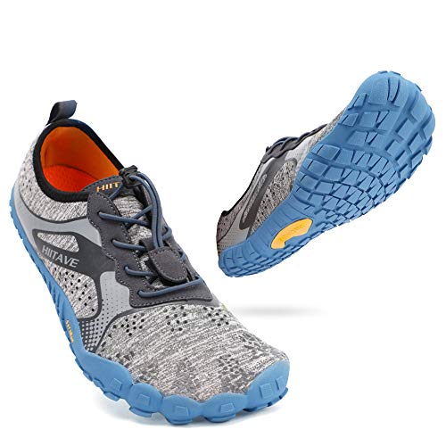 ALEADER hiitave Men/Womens Minimalist Barefoot Trail Running Shoes Wide Toe Glove Cross Trainers Hiking Shoes Black/Gray/Yellow US 9 Women, US 7.5/8 Men