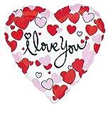 Amscan Folienballon * I LOVE YOU * in Herz-Form für Valentinstag oder einen romantischen Anlass // Ich liebe dich Metallfolie Helium Ballon (1 Stück)