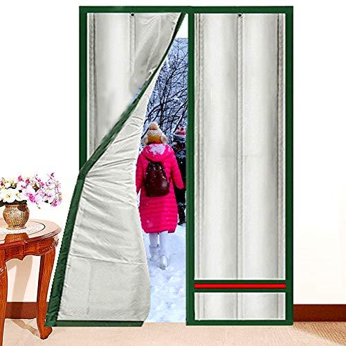 Nileco Verdikt magnetisch deurgordijn, winter, winddicht voordeur, warmte-isolerend, airconditioning, partitiesgordijn met ringen