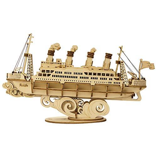 YUNHOME Puzzles Madera Maquetas para Construir 4 Tipos De Bricolaje Vintage Barco De Vela 3D Juego De Rompecabezas De Madera Ensamblaje Barco Juguete Regalo para Niños Adolescentes Adultos-Crucero