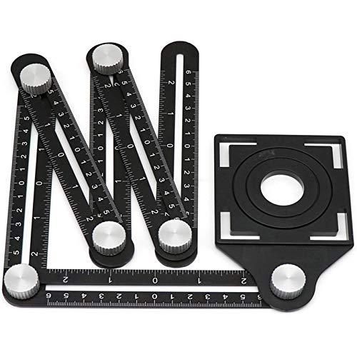 DIMDIM Verstellbare Mehrwinkel-Vorlagen-Skala, klappbares Vierseitiges Lineal, Verwendung für Messwerkzeug (Farbe: schwarz)