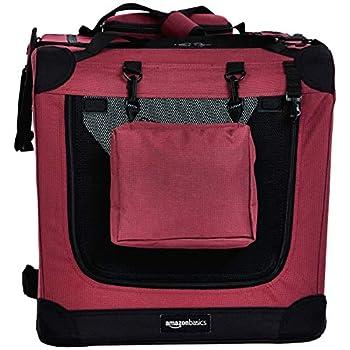 Amazon Basics Panier de transport souple et pliant pour animal de compagnie - 66cm, Rouge