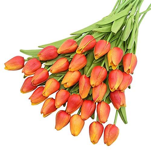 MHSXHXY Artificial Tulips Flowers PU Fake Flower Bouquet Decor For Home Decorative Flower Wedding Party Floral Decoration Bridal Wedding Bouquets 3.5cm/1.37' (Color : Orange)