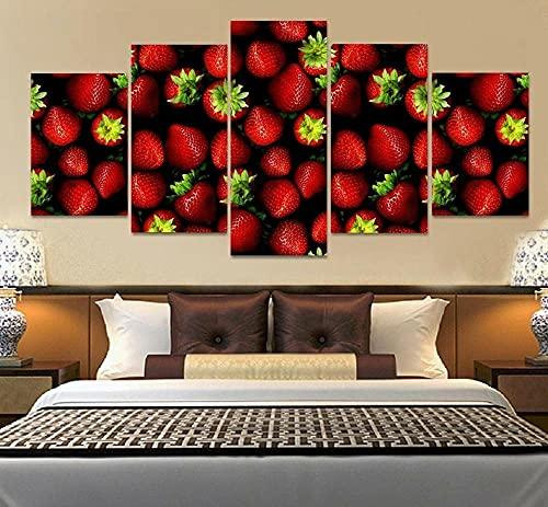 ComposicióN De 5 Cuadros De Madera Para Pared Strawberries Poster Canvas Print Wall Cuadros Decoracion Dormitorios Cuadros Para Cabeceros De Cama Lienzos Decorativos Cuadros Grandes Baratos 150x80cm