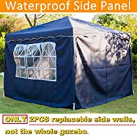 Gazebo Event Shelter Sun Wall, Gazebo Sidewall Replacement, Side Panel for Pop up Gazebo Tent 3x3m or 3x6m, w/Windows or Zipper, Polyester, Sun Protection, Water Resistant, Beige, 2Pcs 10