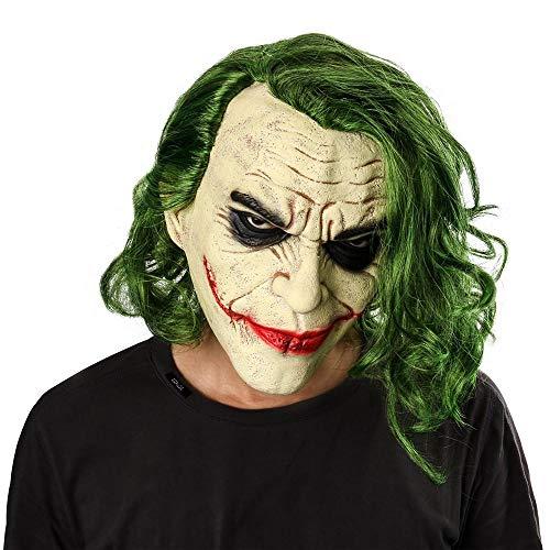 XWYWP Mscara de Halloween Caballero Cosplay Terror Payaso Miedo Mscara con Pelo Verde Peluca Halloween Ltex Mscara Fiesta Traje A