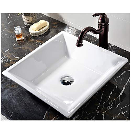 VCCUCINE White Square Above Counter Porcelain Ceramic Vessel Vanity Sink Art Basin