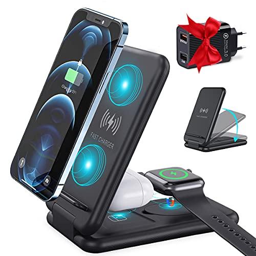 Caricatore Wireless 3 in 1 Caricabatterie Wireless 15W Ricarica Rapida Ricarica Wireless Compatibile con Apple Watch 6/5/4/3/2, AirPods Pro/2, iPhone 12/12 Pro/11 Pro/XS/XR/8 Plus, Galaxy S20/Note 10