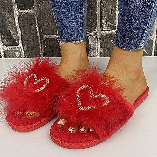 Zapatillas sin deslizamiento de casa al aire libre acogedor, zapatillas de punta abierta plana con pelo RHINESTONE RED_38, zapatillas de espuma de memoria cálida para mujer ( Color : Red , Size : 7 )
