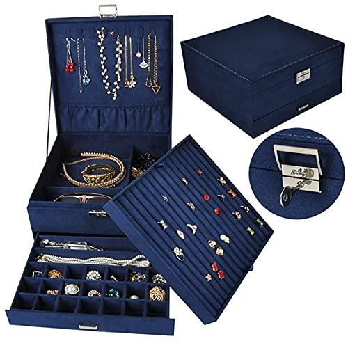 HRTJRS Caja Joyero Cajas de Joyas de Lujo con Lock Organizador de Espacio Grande for Anillo y Collar Titular de Joyería de Velvet Cofres (Color : Navy)