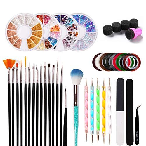 CZA DIY Manucure Tool Set Nail Art Kit pour Les Débutants avec 15Pcs Brosses Peinture 4 Boîtes Strass 10 Rouleaux Ongles Décapage Ruban Nail Art Décorations