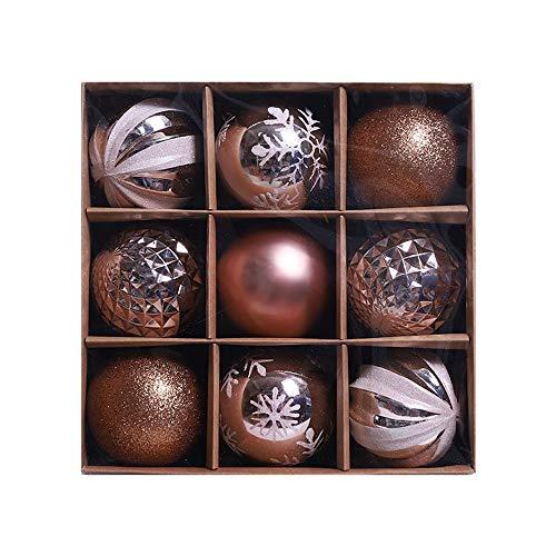 Morbuy 9pc Bolas de Navidad 8cm Colgante de Pared Bolas de árbol de Navidad Adorno de Pared, Árbol Decorativas Boda de Fiesta Suministro Hogar Decoraciones para Festivales (Oro Rosa)