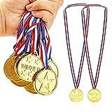 ysister 12pcs Enfants Médaille Or Cadeau Fête 3.8cm médaille Enfants médaillés d'or des médailles pour la journée Sportive pour Enfants, Thème Sport Day Jouets de Jeux de société récompenses