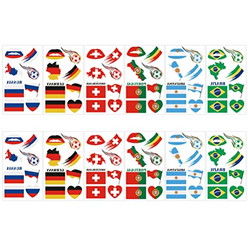 LIOOBO 20 Feuilles Drapeau Du Pays Tatouages ??Temporaires Drapeau National Autocollants Coupe Du Monde Visage Décalque Drapeau Du Pays pour L'événement Sportif Parti Faveur