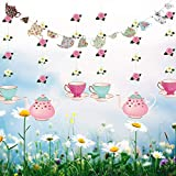 Tea Party Decoration Banner and Hanging Decorations Set Alice in Wonderland Party Garland Decor Teapot Teacup Flower Hanging Garlands for Tea For Girls, Princesses, Bridal Showers, Birthday Party