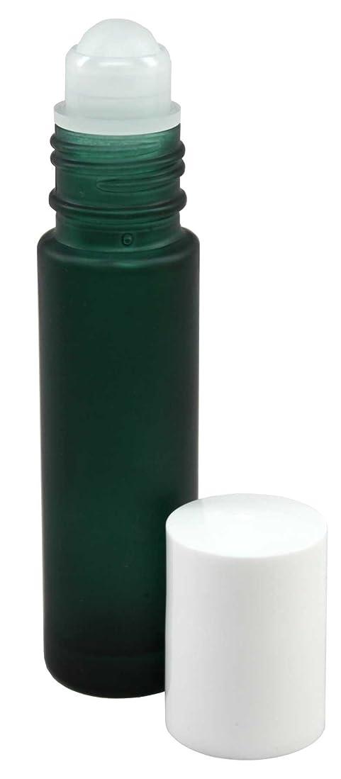 それる故意の手配する10 ml (1/3 fl oz) Green Frosted Glass Essential Oil Roll On Bottles - Pack of 4