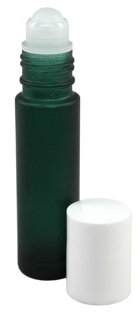 特に無条件付属品10 ml (1/3 fl oz) Green Frosted Glass Essential Oil Roll On Bottles - Pack of 4