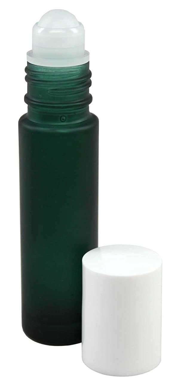タイルポータブルコールド10 ml (1/3 fl oz) Green Frosted Glass Essential Oil Roll On Bottles - Pack of 4