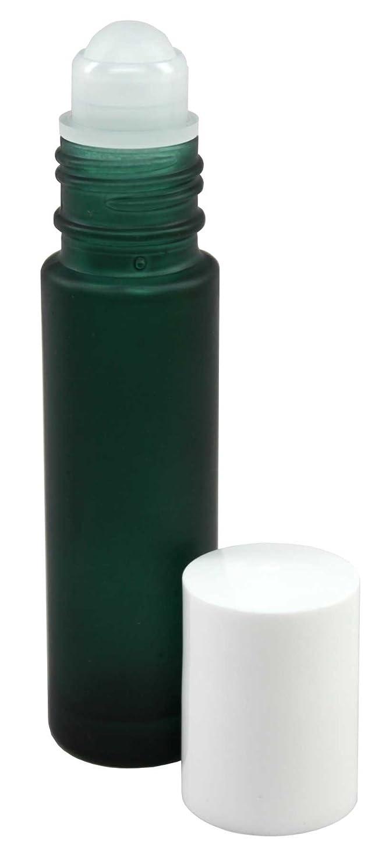 どこ動機毎回10 ml (1/3 fl oz) Green Frosted Glass Essential Oil Roll On Bottles - Pack of 4