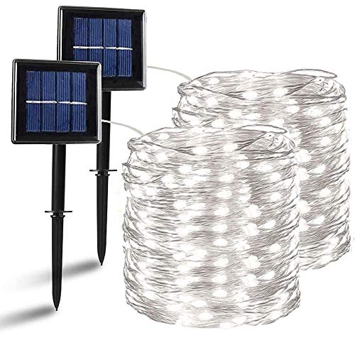 Nurkoo - Guirnalda de luces solares para exteriores, 12 m, 120 ledes, IP64, resistente al agua, alambre de cobre, para Navidad, fiestas, jardín, bodas, decoración, color blanco frío