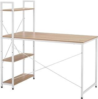 belupai Bureau d'ordinateur avec 4 étagères de rangement Table d'étude avec étagère pour petits espaces Bureau à domicile ...