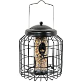 Sunnydaze Outdoor Hanging Wild Bird Feeder, Steel Wire Caged, 4-Peg, 12-Inch, Black