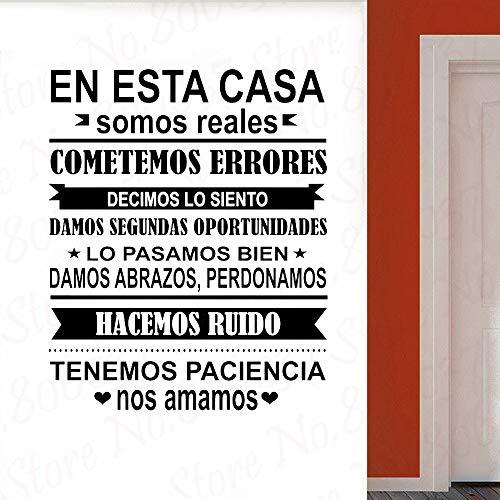 JXFM Spanje EN ESTA CASA huisregels wandsticker woondecoratie vinyl wandsticker slaapkamer sticker