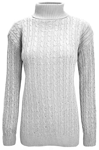 Be Jealous Womens Chunky Cable Knit Polo Neck Sweater Jumper Off-White Plus Size (UK 16/18)