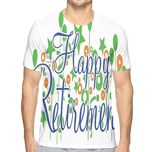 Mens T-shirt, Calligraphy Retirement Font with Balloons and Stars