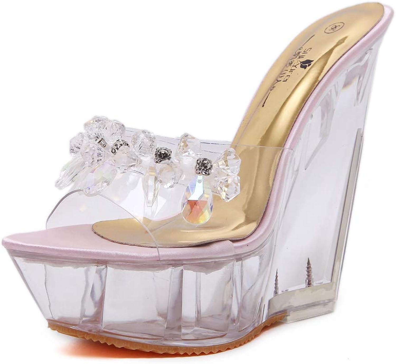 Btrada Crystal Wedges Sandals Women Waterproof Platform Sexy Wild High Heels Transparent Slippers